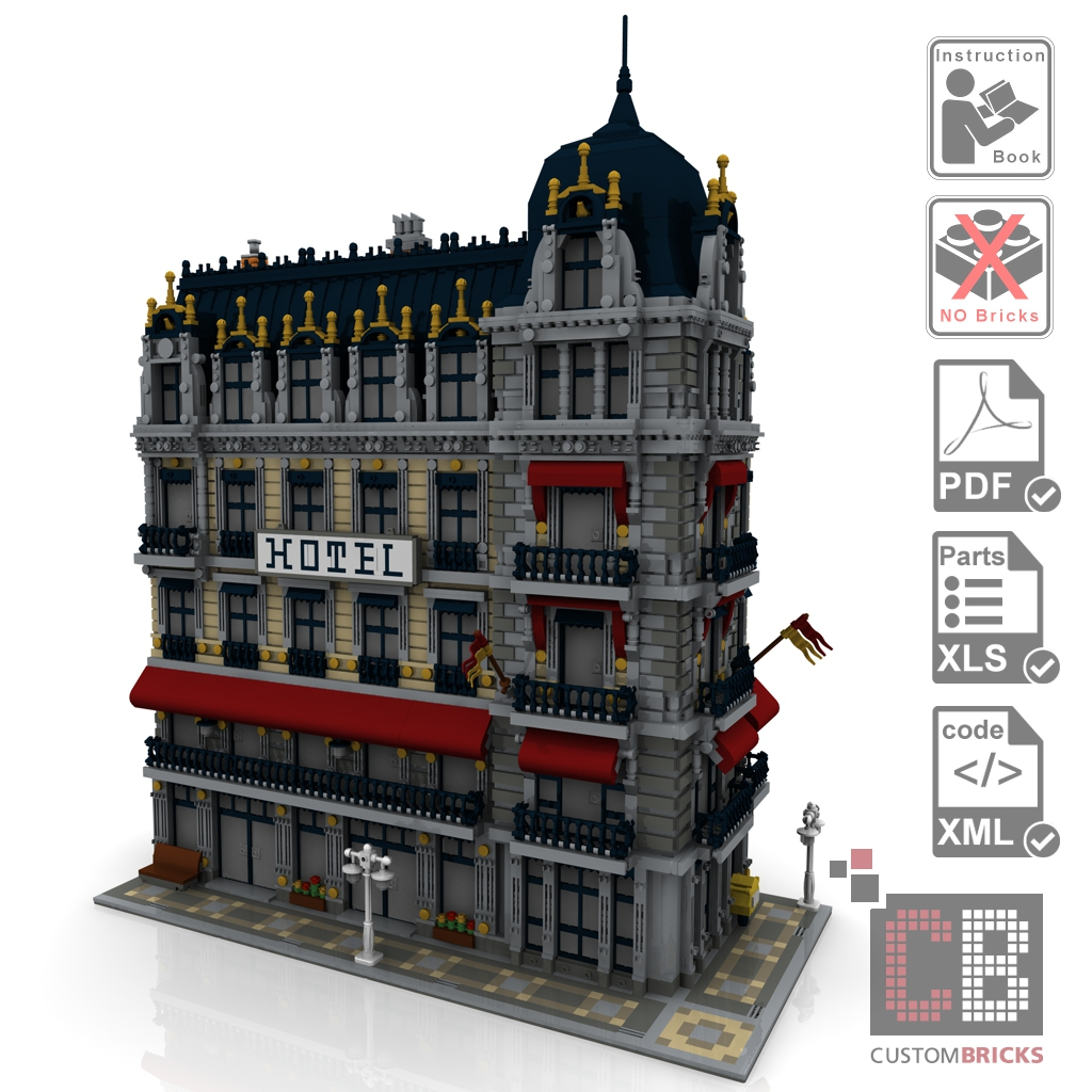 cb eigenbau bauanleitug cafe hotel modular building creator moc f r lego steine ebay. Black Bedroom Furniture Sets. Home Design Ideas