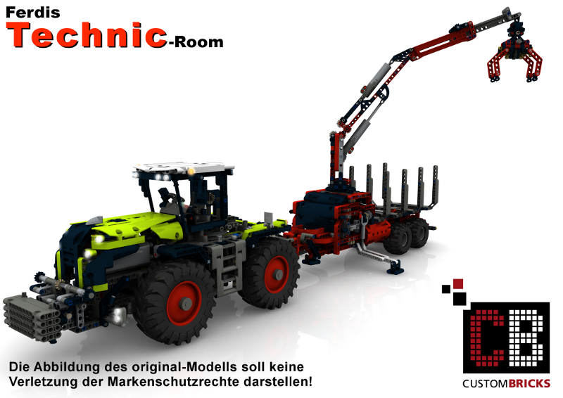 lego moc 7836 class 2 axle trailer with forestry crane. Black Bedroom Furniture Sets. Home Design Ideas