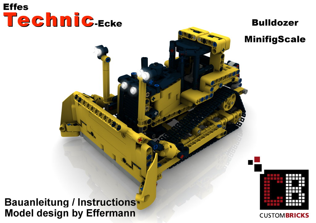 cb eigenbau bauanleitung minifigur bulldozer moc unikat f r lego technic steine ebay. Black Bedroom Furniture Sets. Home Design Ideas
