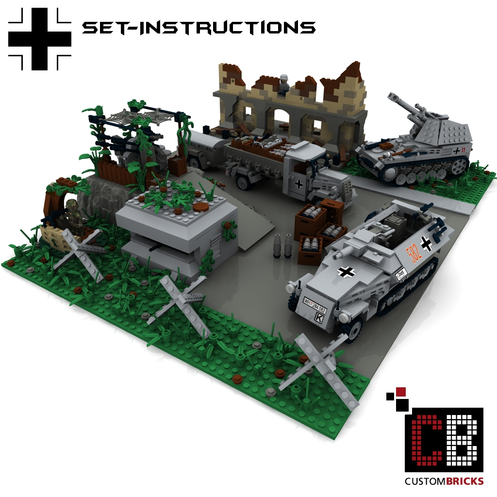 CUSTOMBRICKS.de - LEGO-Custom-WW2-Ruine-Wespe-Opel-Blitz ...: http://www.custombricks.de/CUSTOM-Bauanleitungen/WW2-Bauanleitung/WW2-Sets-44/Opel-Blitz-SdKfz-251-9C-Set.html