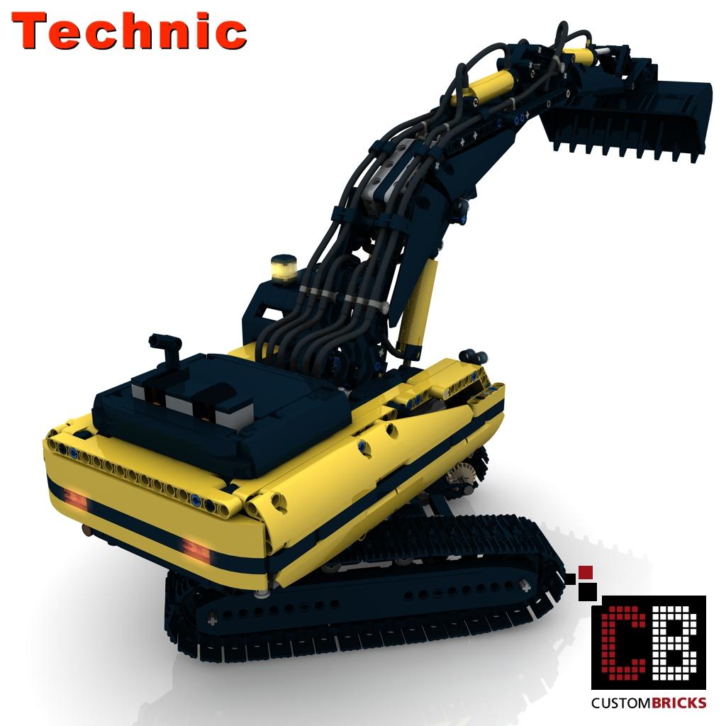 lego technik modell raupenbagger rc pneumatic custombricks moc bauanleitung. Black Bedroom Furniture Sets. Home Design Ideas