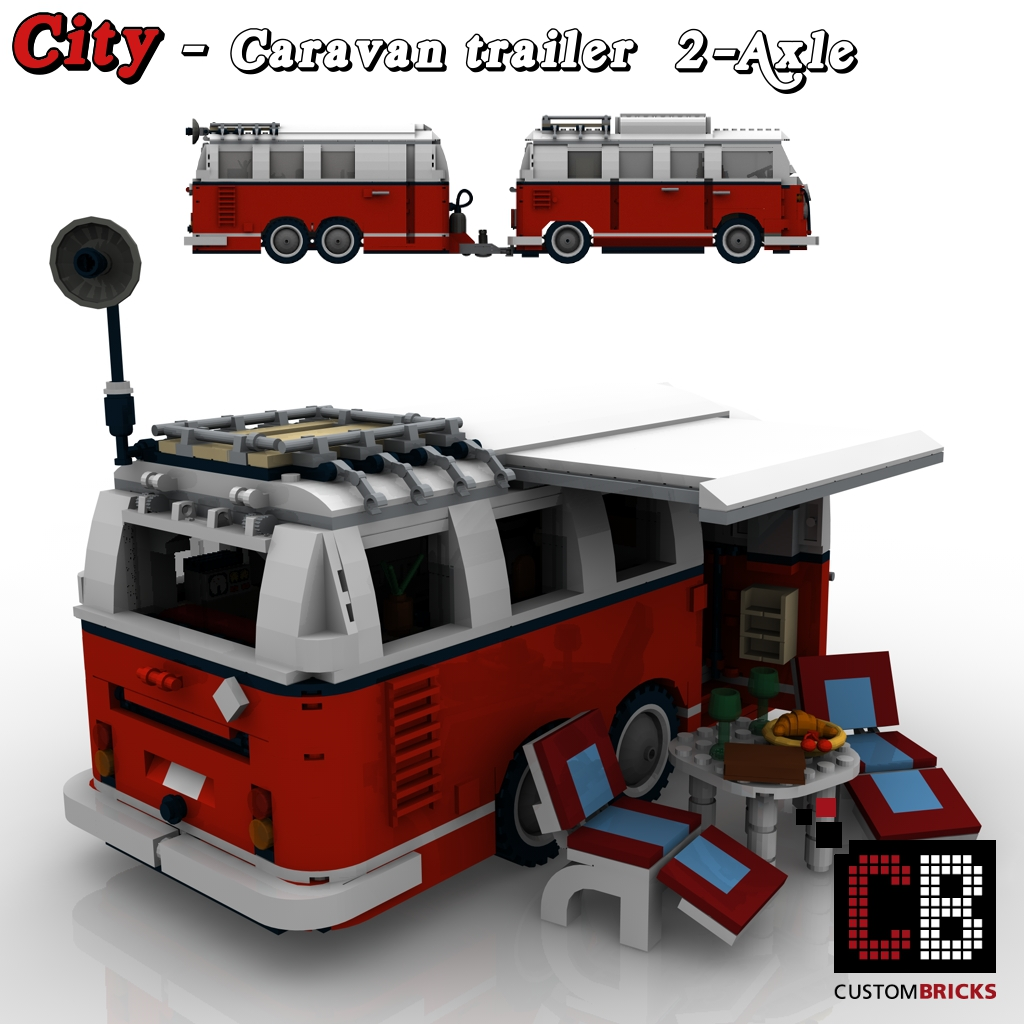 Custombricks De Lego City Trailer Wohnwagen Camper Vw T1