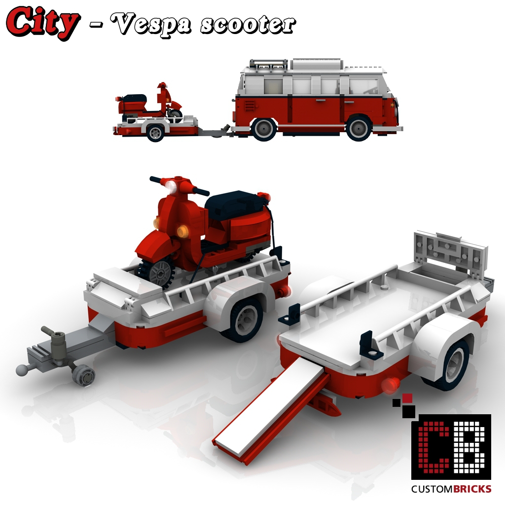Custombricks De Lego City Vespa Roller Mit Anh 228 Nger F 252 R