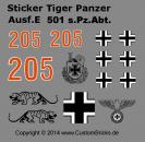 Custom Sticker 501 s.Pz.Abt Tiger Panzer