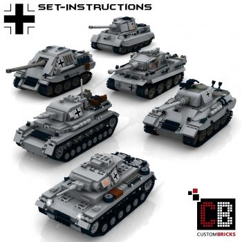 Custom WW2 German Tank Set 1 - Tiger, Königstiger, Panther, Jagdpanther, PzKpfw 3&4