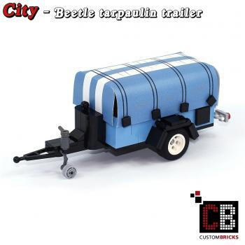 Luggage trailer Beetle with tarpaulin - blue - made of LEGO® bricks