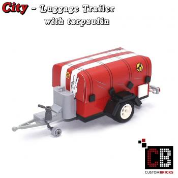 Luggage trailer T1 with tarpaulin - red - made of LEGO® bricks