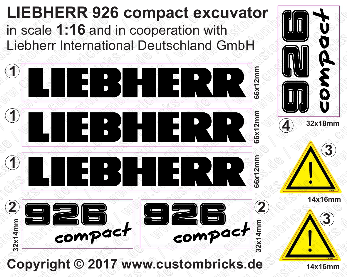 Custombricks de custom sticker m 116 liebherr 926 compact excuvator