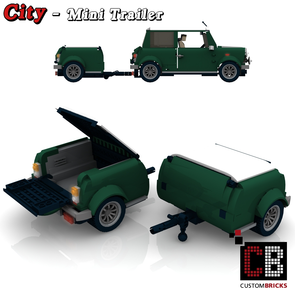 lego custom moc city caravan trailer wohnwagen camper anh nger vw mini cooper. Black Bedroom Furniture Sets. Home Design Ideas