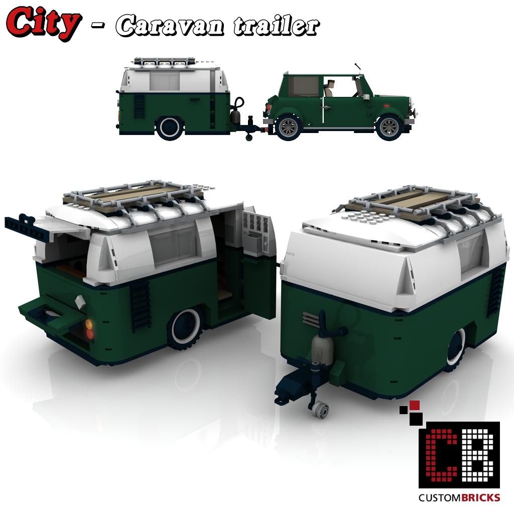 Custombricks Lego Custom Moc City Caravan Trailer Wohnwagen