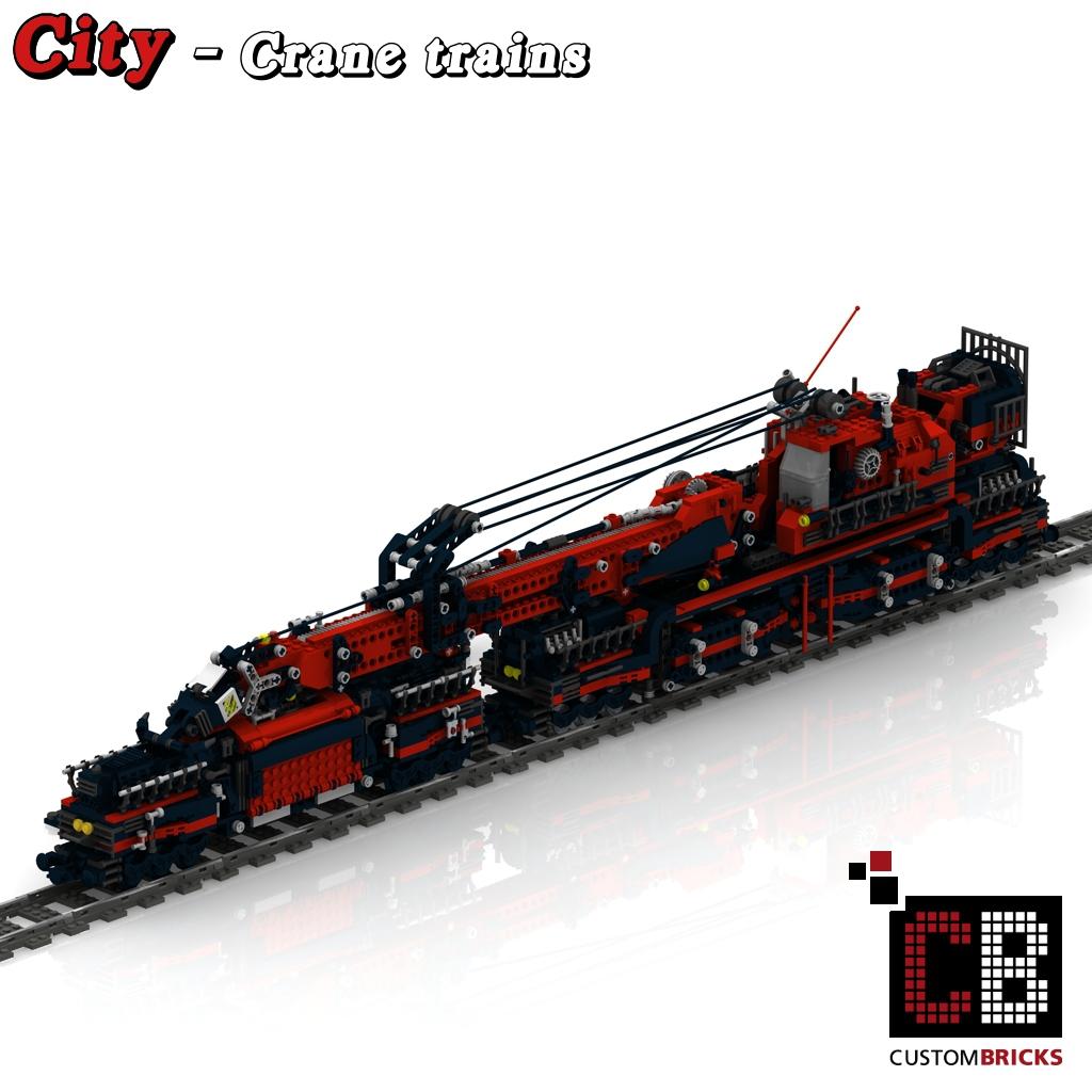 Custombricksde Lego Custom Zug Kran Und Waggon Bauanleitung