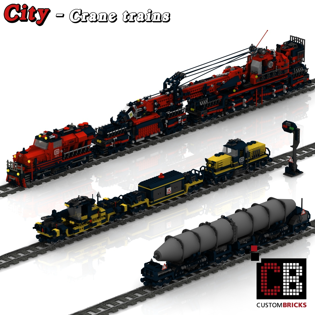 Custombricks De Lego Custom Zug Kran Und Waggon Bauanleitung