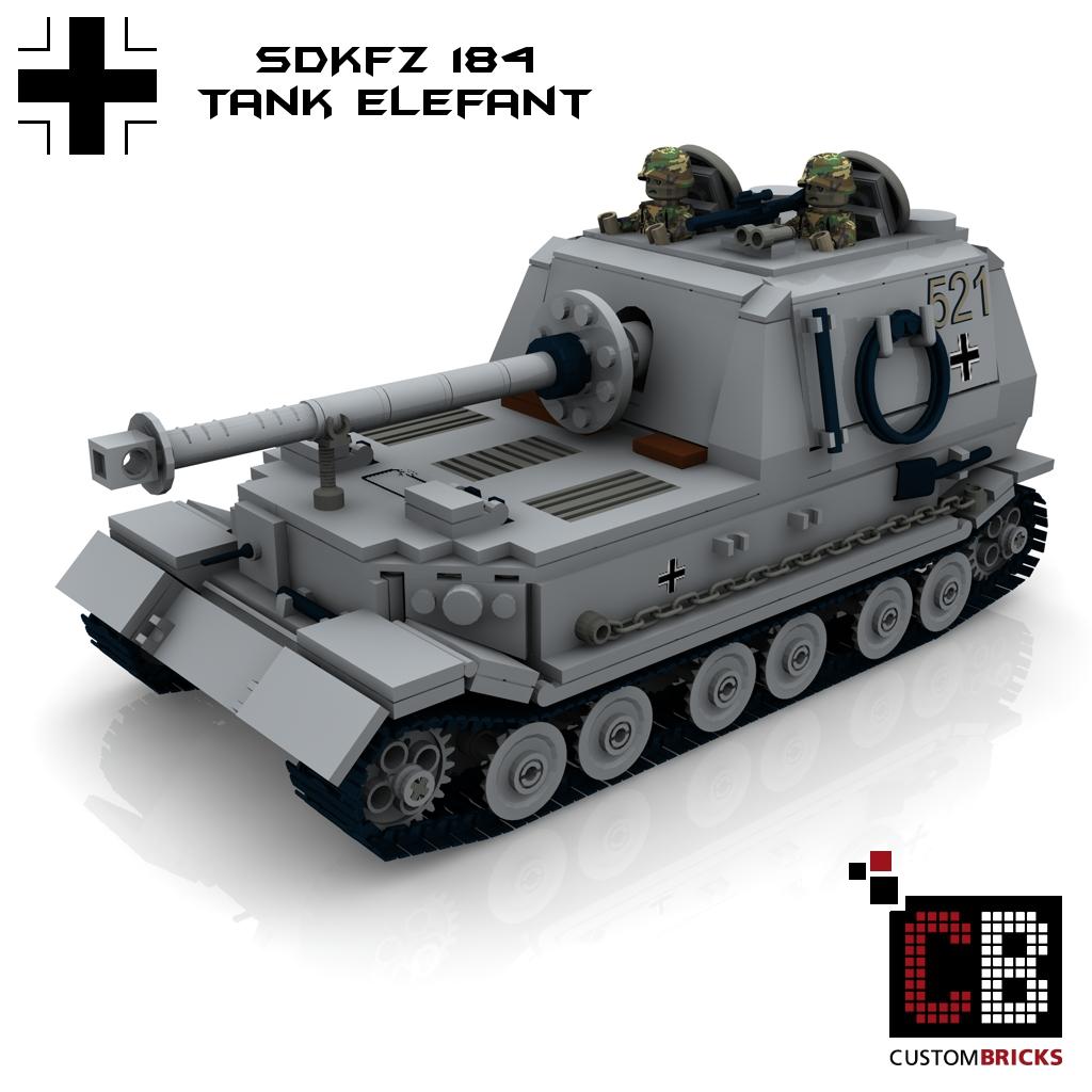 CUSTOMBRICKS de - LEGO Custom-WW2-Tank-Elefant-SdKfz-184-german-WWII