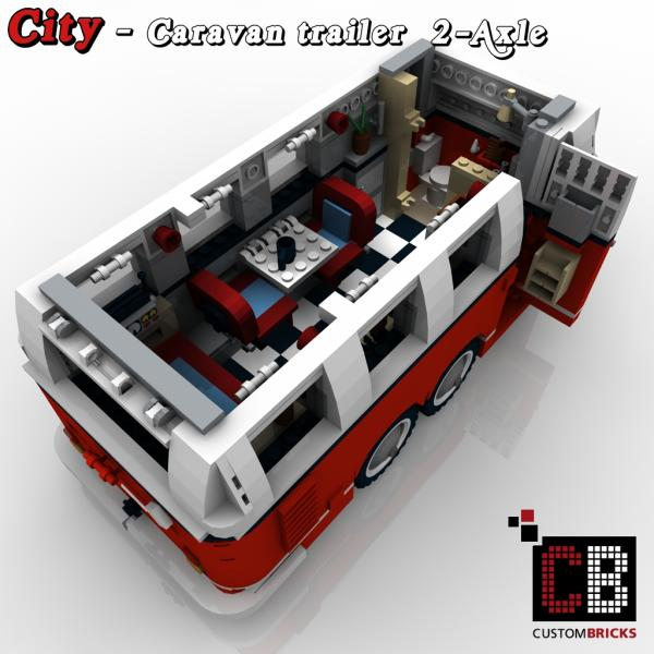 Custombricks Lego City Trailer Wohnwagen Camper Vw T1 Bus 10220