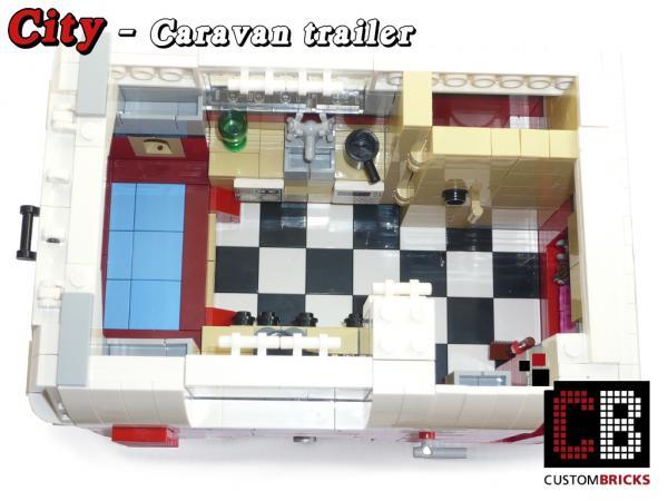 CB CUSTOM Modell Wohnwagen 1-Achser Trailer aus LEGO® Steinen z.B für 10220 T1