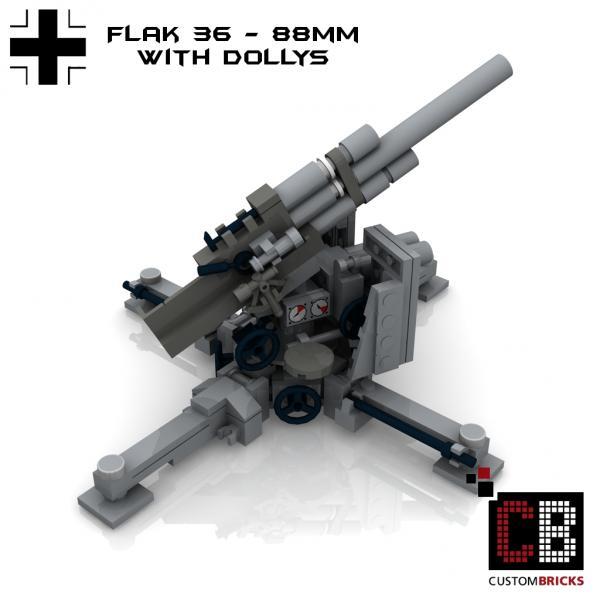 Custombricks Lego Custom Ww2 Artillery Flak 36 88mm Anti Tank Gun